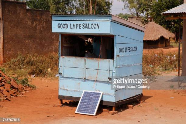 Hair saloon with solar panel. Uganda
