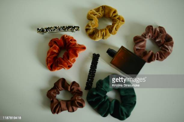 hair scrunchies and other accessories on a white background - kristina strasunske stock pictures, royalty-free photos & images