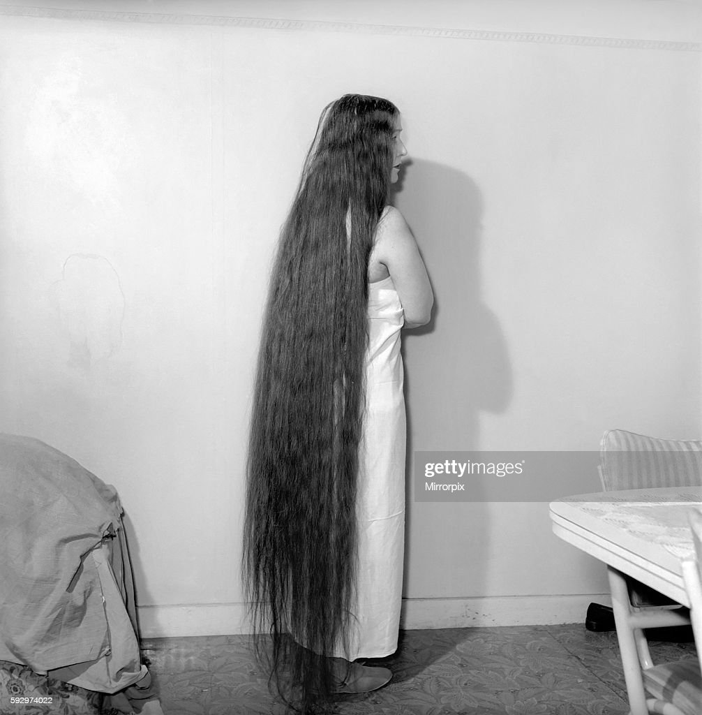 Mrs Mabel Anderson Seen Here With Her Floor Length Hair June 1958