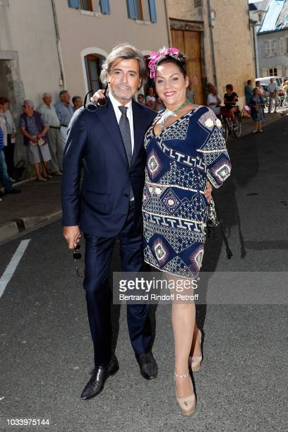 Hair Stylist Alexandre Zouari and Hermine de Clermont Tonnerre attend Wedding of Helene of Yougoslavia and Stanislas Fougeron at Eglise Saint Etienne...