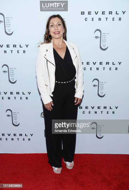 Hair stylist Connie Kallos arrives at the MakeUp Artists and Hair Stylists Guild Reception at The Beverly Center on August 12 2018 in Los Angeles...