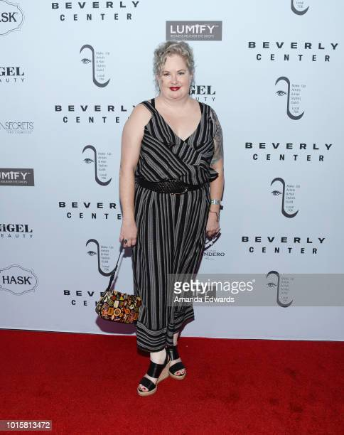 Hair stylist Dawn V Dudley arrives at the MakeUp Artists and Hair Stylists Guild Reception at The Beverly Center on August 12 2018 in Los Angeles...