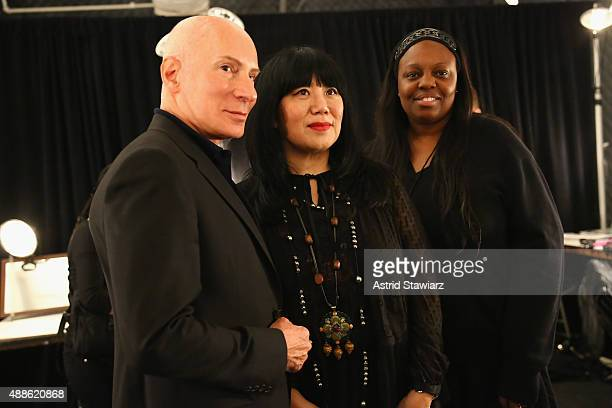 Hair stylist Garrin poses with designer Anna Sui and makeup artist Pat McGrath backstage at Anna Su Spring 2016 during New York Fashion Week: The...
