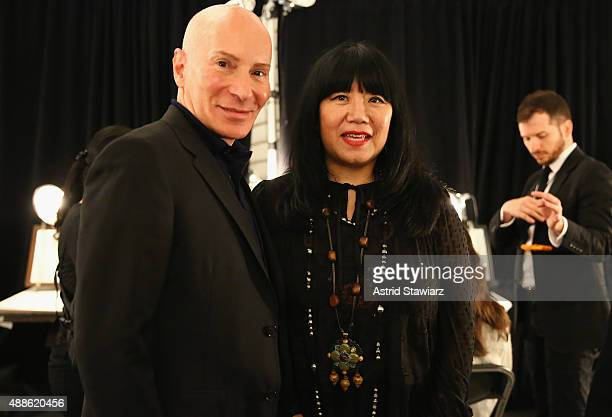 Hair stylist Garrin poses with designer Anna Sui backstage at Anna Su Spring 2016 during New York Fashion Week The Shows at The Arc Skylight at...