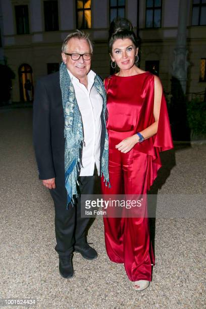 Hair stylist Gerhard Meir and Swetlana Panfilow during the Brian Ferry concert at the Thurn Taxis Castle Festival 2018 on July 18 2018 in Regensburg...
