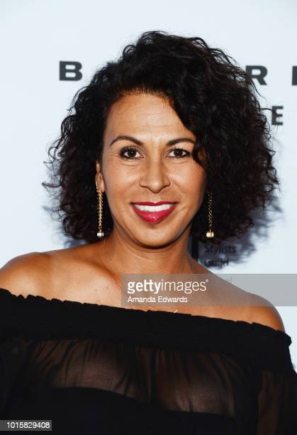 Hair stylist Helena Cepeda arrives at the MakeUp Artists and Hair Stylists Guild Reception at The Beverly Center on August 12 2018 in Los Angeles...