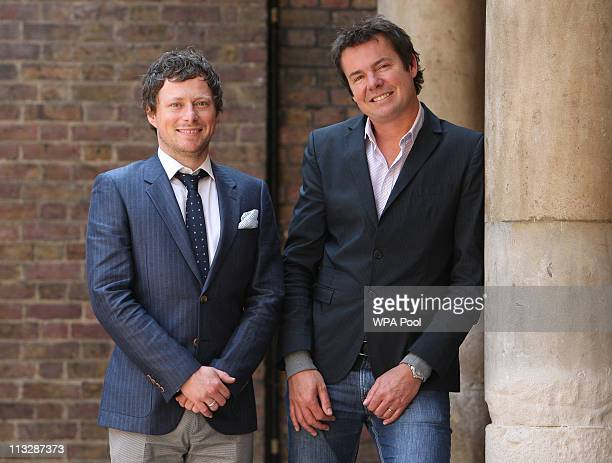Hair stylist James Pryce and Richard Ward, Managing Director of Richard Ward Hair and Metrospa, pose the day after styling Catherine Middleton's hair...