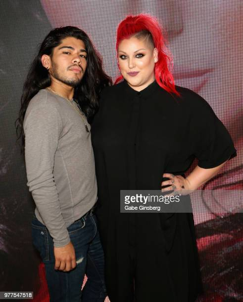 Hair stylist Jesus Guerrero and Morphe Director of Global Artistry Nicole Faulkner attend the Morphe store opening at the Miracle Mile Shops at...