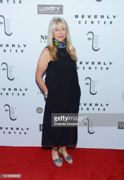Hair stylist Joy Zapata arrives at the MakeUp Artists and Hair Stylists Guild Reception at The Beverly Center on August 12 2018 in Los Angeles...
