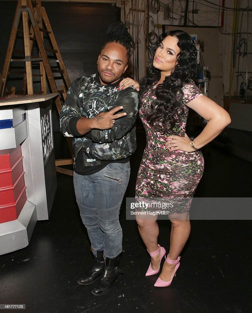 Hair stylist Q and Designer Emily B visit 106 & Park at BET studio on March 31, 2014 in New York City.