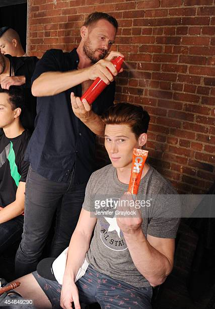 Hair Stylist Rutger CHI Haircare Backstage At Perry Ellis Spring/Summer 2015 at Waterside on September 4 2014 in New York City