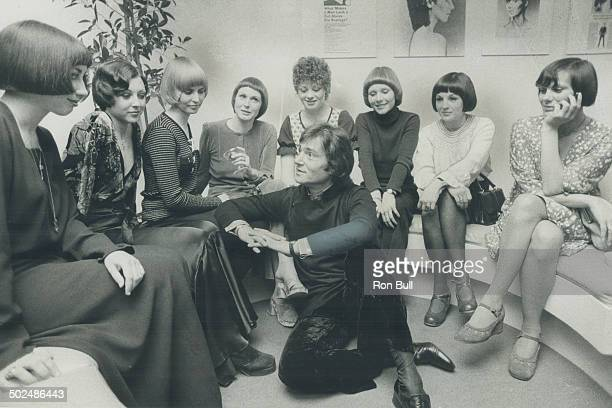Hair stylist Vidal Sassoon is shown with girls who modelled his hairdos this week at his Avenue Rd salon