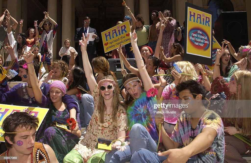 'Hair' the musical that makes love not war will be back in Sydney from April 2003. Cast and chorus line sung for peace on the steps of the Sydney Town Hall for the announcement. (Photo by Patrick Riviere/Getty Images).