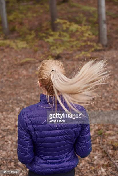 Hair tied up while jogging. Debica, Poland