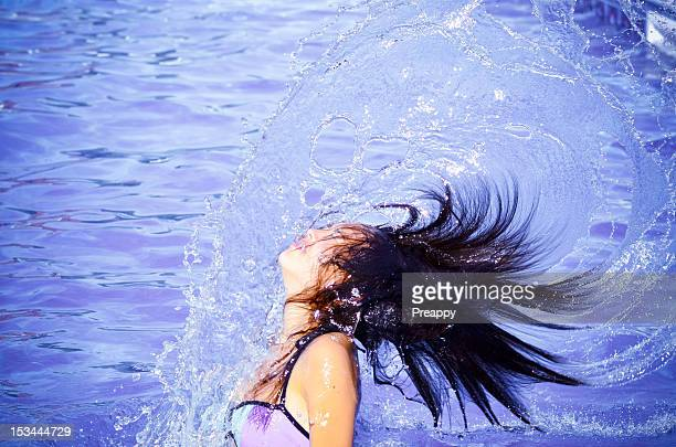 hair whipping - chinese bikini girls stock pictures, royalty-free photos & images