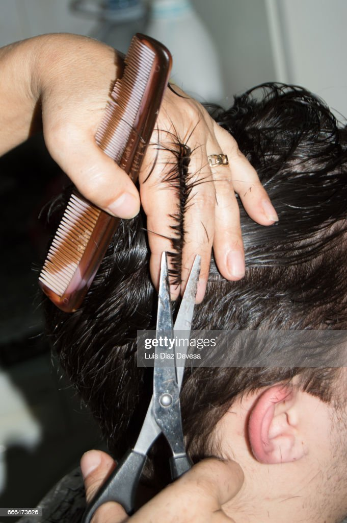 Haircut At Home With Scissors Stock Photo Getty Images