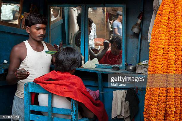 Haircut saloon near the flower market of Kolkata West Bengal India