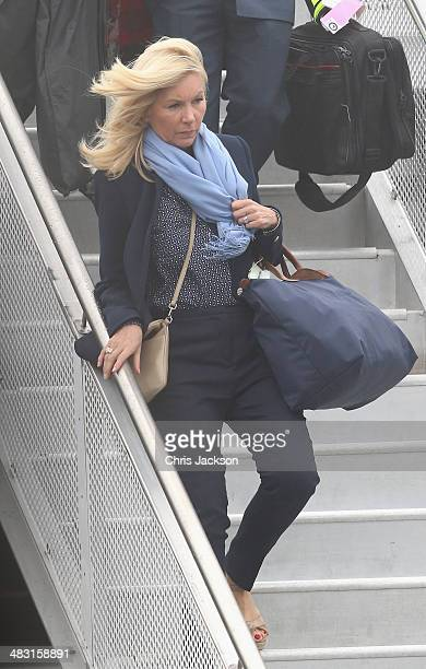 Hairdresser Amanda Cook Tucker arrives at Wellington Military Terminal on an RNZAF 757 from Sydney on April 7 2014 in Wellington New Zealand The...