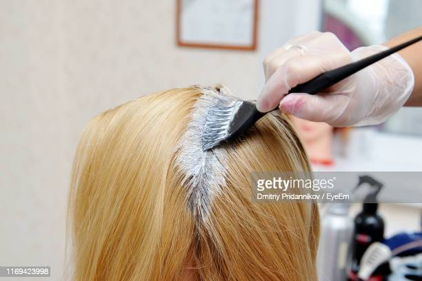 hairdresser applying dye on woman hair at salon - dyed hair stock pictures, royalty-free photos & images