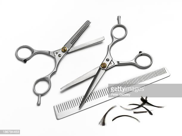 hairdresser comb and scissors on white background - cutting stock pictures, royalty-free photos & images