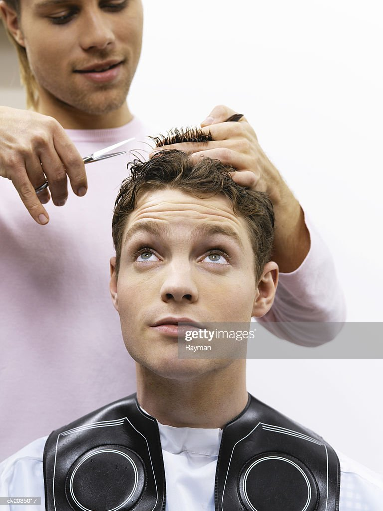 Hairdresser Cutting a Man's Hair : Stock Photo