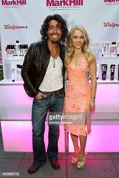 Hairdresser Mark Hill and Actress AnnaSophia Robb attend the Mark Hill Salon Professional One Year Anniversary Celebration on July 29 2014 in New...
