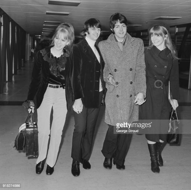 Hairdresser Maureen Starkey Tigrett musicians and singersongwriters Ringo Starr and Paul McCartney of The Beatles and British actress Jane Asher at...