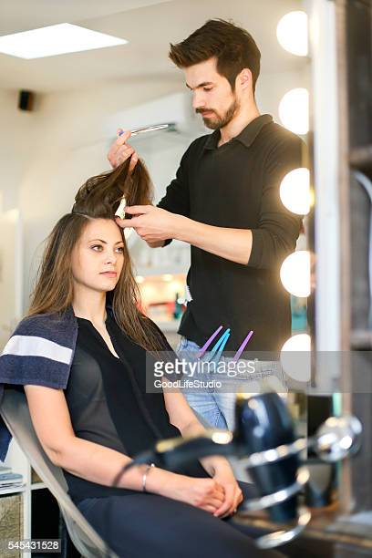 Hairdresser working