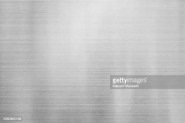 hairline steel plate texture background - 銀 ストックフォトと画像