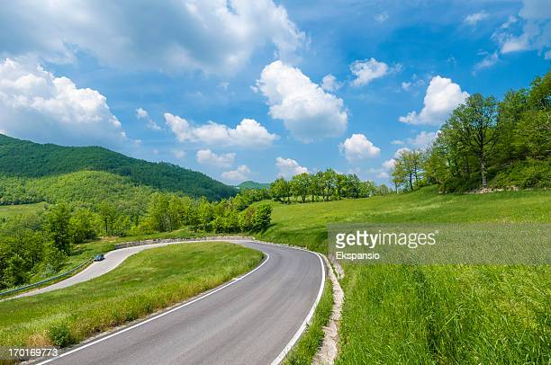 Hairpin bend in a winding country road