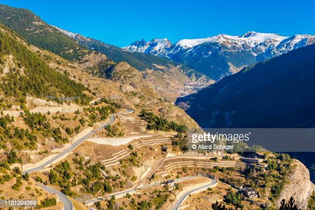 hairpin road in andorra - andorra fotografías e imágenes de stock