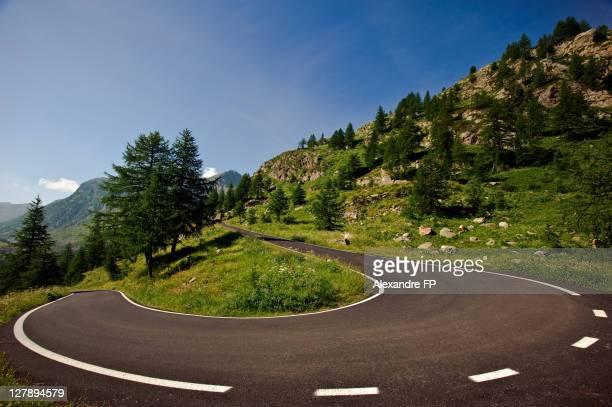 Hairpin turn road in Vinadio