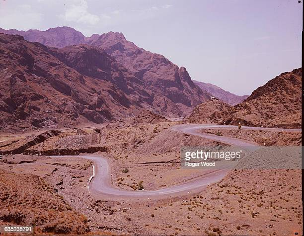 Hairpin turns on a winding road through the Khyber Pass in Pakistan with a view towards Afghanistan August 1962