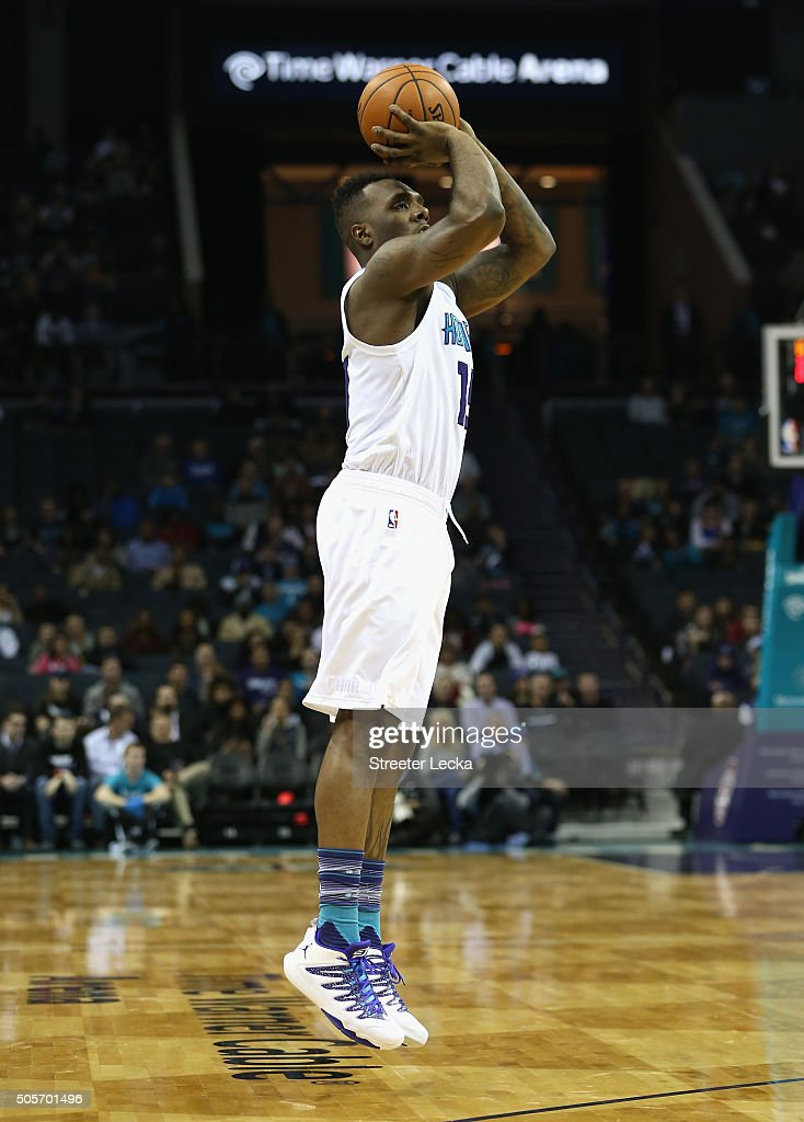 P.J. Hairston #19 of the Charlotte Hornets during their game at Time Warner Cable Arena on January 13, 2016 in Charlotte, North Carolina.