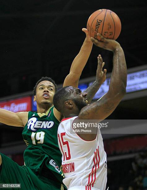 Hairston of the Rio Grande Valley Vipers shoots the ball over Skal Labissiere of the Reno Bighorns at the State Farm Arena November 13 2016 in...