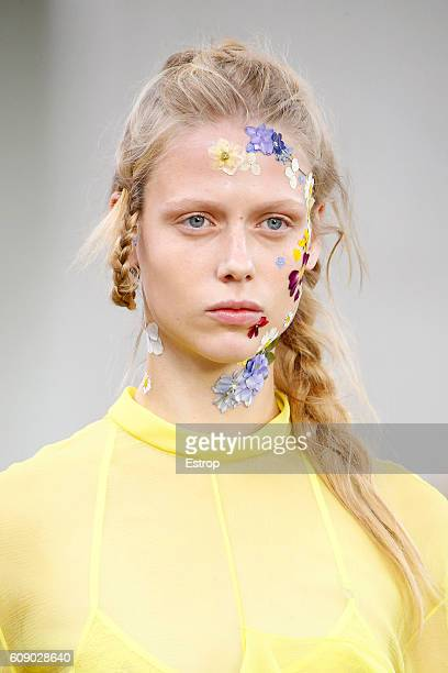Hairstyle and Makeup detail at the Preen by Thornton Bregazzi show during London Fashion Week Spring/Summer collections 2017 on September 18 2016 in...
