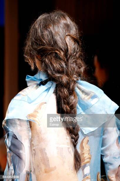 Hairstyle detail at the Alberta Ferretti show during Milan Fashion Week Fall/Winter 2017/18 on February 22 2017 in Milan Italy