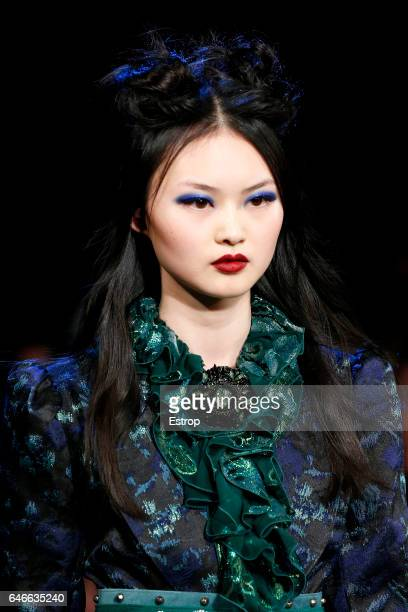 Hairstyle detail at the Anna Sui show during the New York Fashion Week February 2017 collections on February 15, 2017 in New York City.