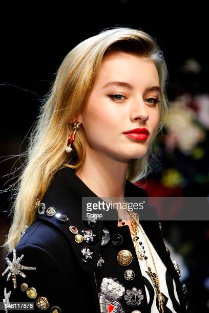 Hairstyle detail at the Dolce Gabbana show during Milan Fashion Week Fall/Winter 2017/18 on February 26 2017 in Milan Italy