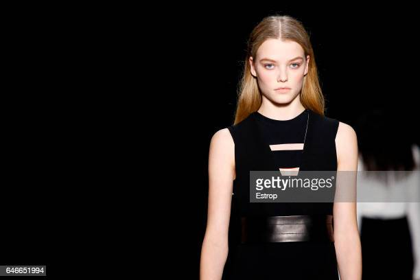 Hairstyle detail at the Narciso Rodriguez show during the New York Fashion Week February 2017 collections on February 14 2017 in New York City