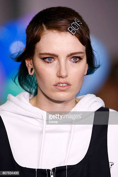 Hairstyle detail at the runway at the Ashley Williams show during London Fashion Week Spring/Summer collections 2017 on September 16 2016 in London...