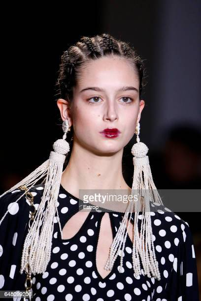 Hairstyle detail at the runway during the Andrew Gn show as part of the Paris Fashion Week Womenswear Fall/Winter 2017/2018 on March 3 2017 in Paris...