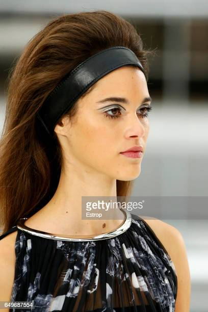 Hairstyle detail at the runway during the Chanel show as part of the Paris Fashion Week Womenswear Fall/Winter 2017/2018 on March 7 2017 in Paris...