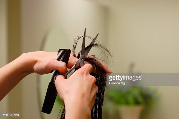 hairstylist cutting hair - highlights hair stock pictures, royalty-free photos & images