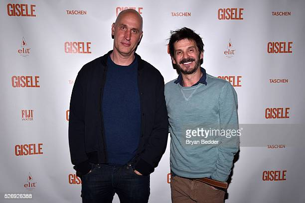 Hairstylist Guido Palau and guest attend the Gisele Bundchen Spring Fling book launch on April 30 2016 in New York City