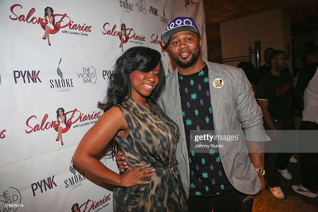 Hairstylist Lavette Slater and Xilla Valentine attend the Salon Diaries Launch at Trump World Bar on July 30, 2013 in New York City.