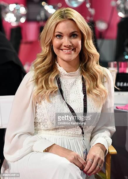 Hairstylist Sarah Potempa is seen backstage before the 2015 Victoria's Secret Fashion Show at Lexington Avenue Armory on November 10 2015 in New York...