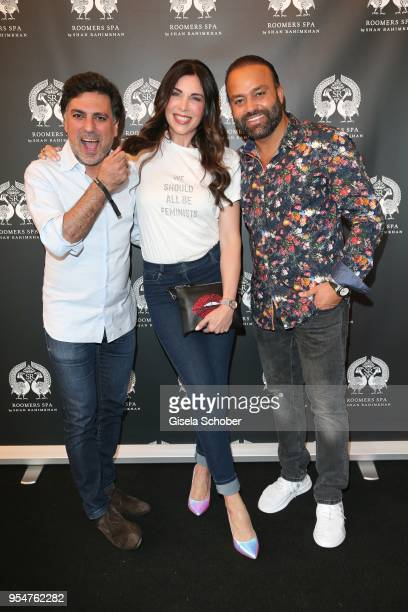 Hairstylist Shan Rahimkan, Alexandra Polzin and Bardia Torabi, General Manager Roomers Munich during the Grand Opening of Roomers Spa by Shan...