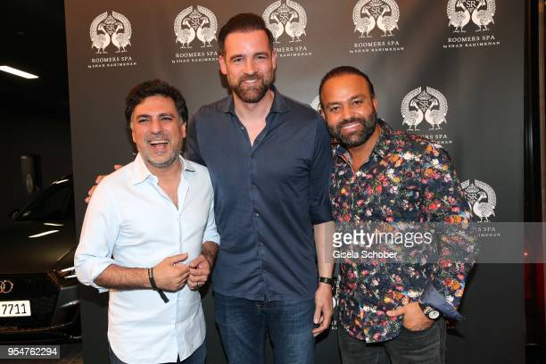Hairstylist Shan Rahimkan, Christoph Metzelder and Bardia Torabi, General Manager Roomers Munich during the Grand Opening of Roomers Spa by Shan...