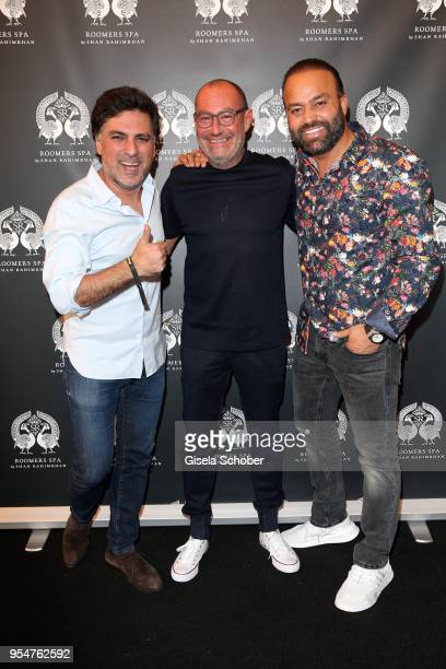 Hairstylist Shan Rahimkan, Micky Rosen, Owner of Gekko Group/Roomers and Bardia Torabi, General Manager Roomers Munich during the Grand Opening of...